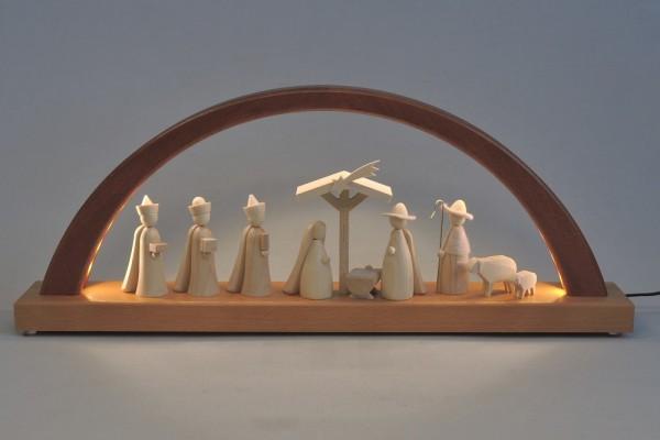 Schwibbogen Christi Geburt natur, neues Design, LED-Beleuchtung