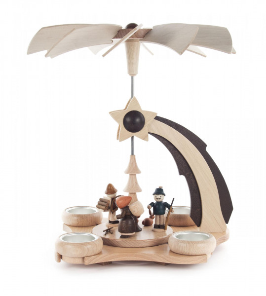 """Weihnachtspyramide """"Sternschnuppe"""" mit Waldfiguren, für Teelichte"""