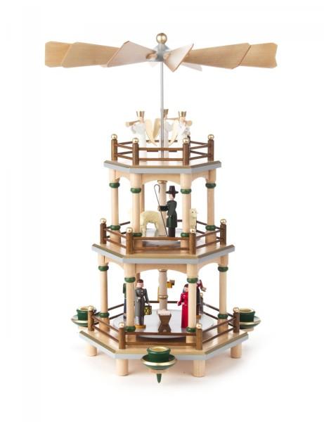 Weihnachtspyramide Christi Geburt natur 2-stöckig für Kerzen Durchmesser 14mm