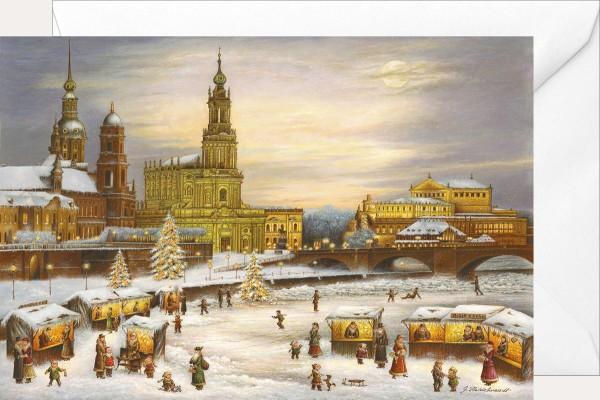 Weihnachtsklappkarte - Dresden Hofkirche