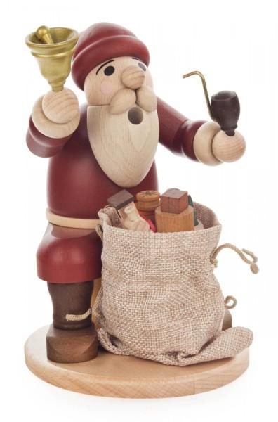 Räuchermann Weihnachsmann sitzend mit Glocke und Geschenkesack