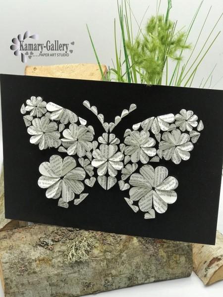 Basteln nach Zahlen - Schmetterling mit Buchseitenpapier